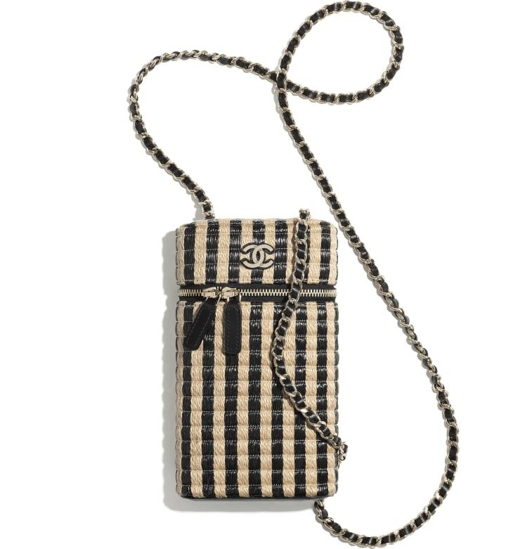 image 3 - Vanity Phone Holder with Chain - Raffia, Jute Thread & Gold-Tone Metal - Black & Beige