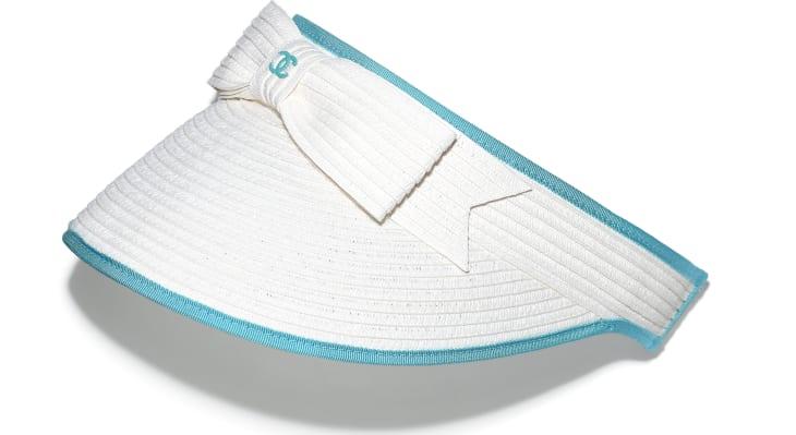 image 1 - バイザー - ストロー & グログラン - ホワイト & ブルー