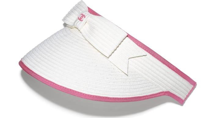 image 1 - バイザー - ストロー & グログラン - ホワイト & ピンク