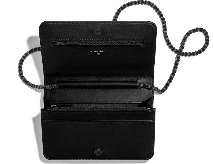 image 3 - Wallet on Chain - Aged Calfskin, Smooth Calfskin & Black Metal - Black