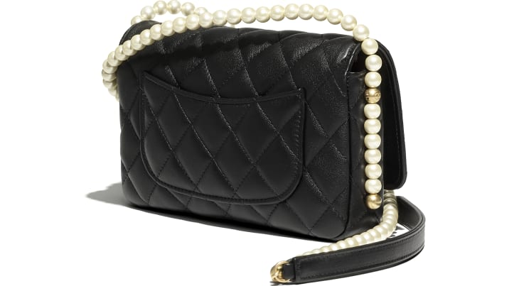 image 4 - Wallet on Chain - Calfskin, Imitation Pearls & Gold-Tone Metal - Black