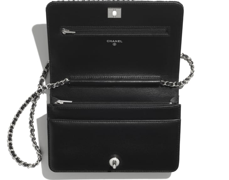 image 2 - Wallet on Chain - Embroidered Tweed, Crystal Pearls, Strass & Silver-Tone Metal - Black