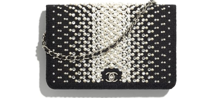 image 1 - Wallet on Chain - Embroidered Tweed, Crystal Pearls, Strass & Silver-Tone Metal - Black