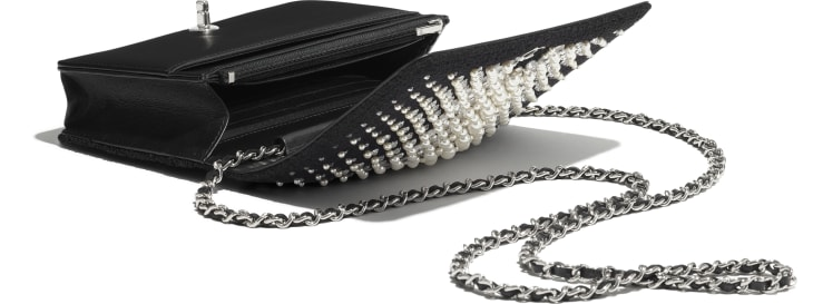 image 3 - Wallet on Chain - Embroidered Tweed, Crystal Pearls, Strass & Silver-Tone Metal - Black