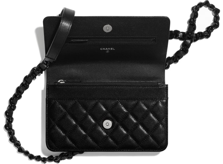 image 2 - Wallet on Chain - Grained Calfskin & Lacquered Metal - Black