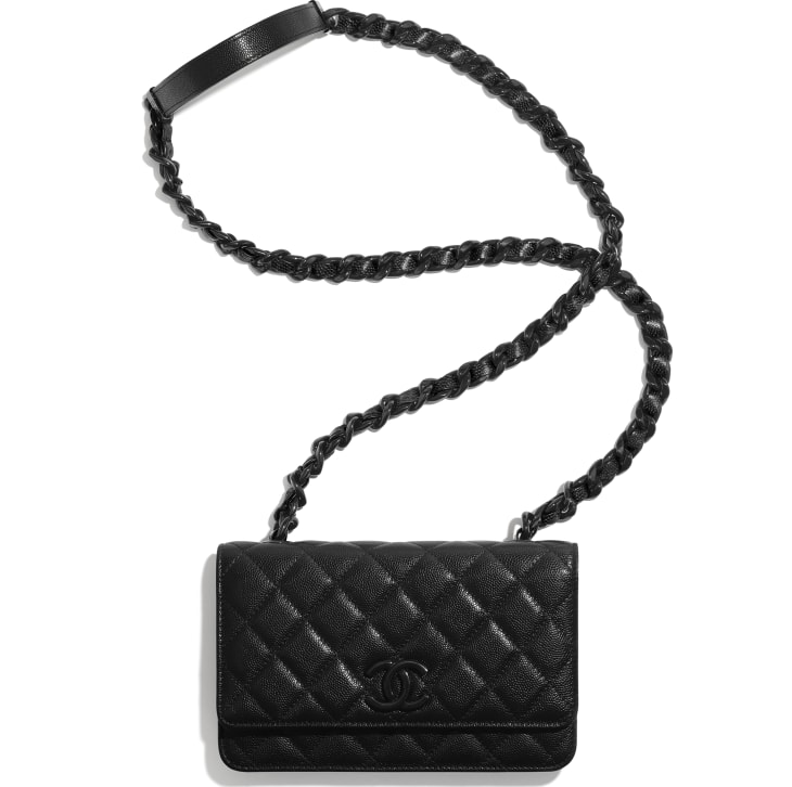 image 4 - Wallet On Chain - Grained Calfskin & Lacquered Metal - Black