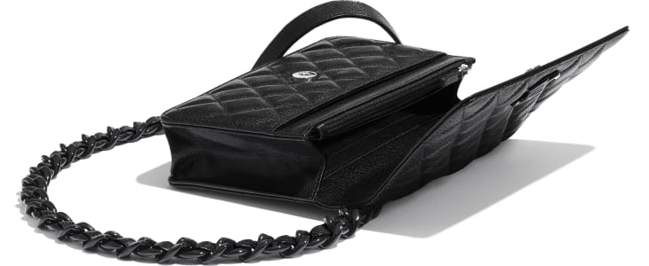 image 3 - Wallet on Chain - Grained Calfskin & Lacquered Metal - Black
