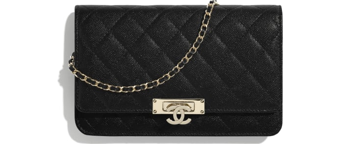 image 1 - Wallet on Chain - Grained Goatskin & Gold-Tone Metal - Black