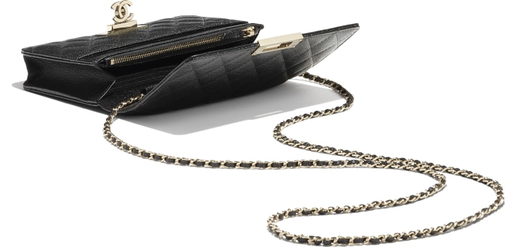 image 3 - Wallet on Chain - Grained Goatskin & Gold-Tone Metal - Black