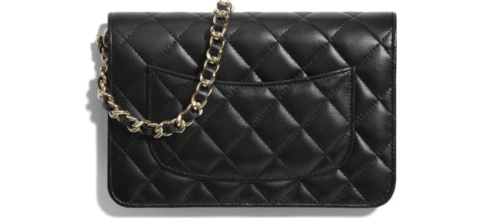 image 2 - Wallet On Chain - Lambskin, Charms & Gold-Tone Metal - Black