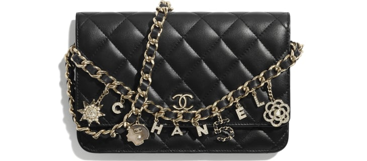 image 1 - Wallet On Chain - Lambskin, Charms & Gold-Tone Metal - Black