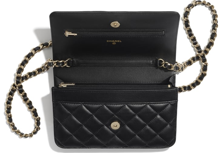 image 3 - Wallet On Chain - Lambskin, Charms & Gold-Tone Metal - Black