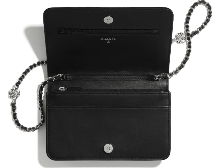 image 3 - Wallet on Chain - Velvet & Silver-Tone Metal - Black