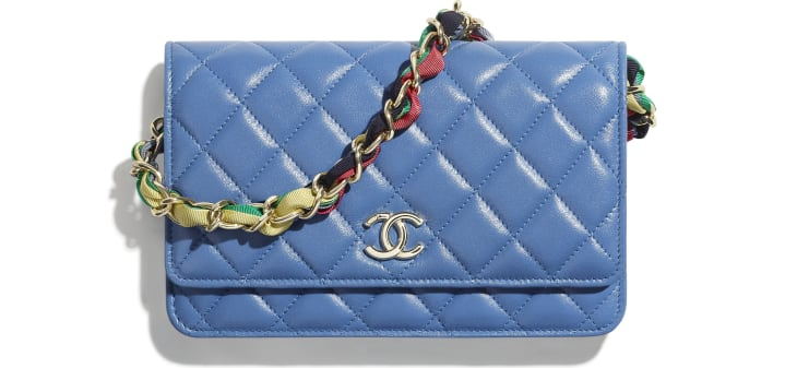 image 1 - Carteira Com Corrente - Shiny Lambskin, Ribbon & Gold-Tone Metal - Azul