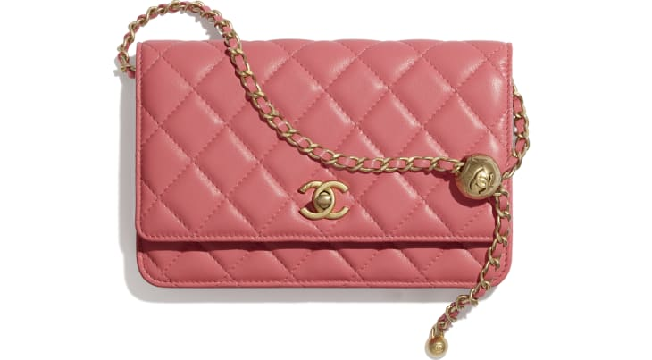 image 1 - Wallet on Chain - Lambskin & Gold-Tone Metal - Coral