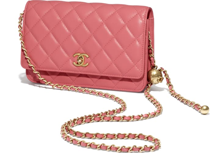 image 3 - Wallet on Chain - Lambskin & Gold-Tone Metal - Coral