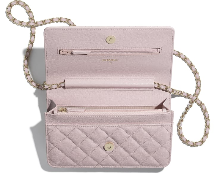 image 2 - Wallet on Chain - Grained Calfskin & Gold-Tone Metal - Light Pink
