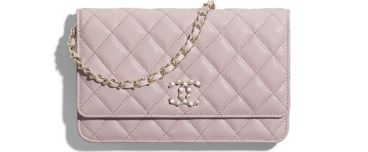 image 1 - Wallet on Chain - Grained Calfskin & Gold-Tone Metal - Light Pink