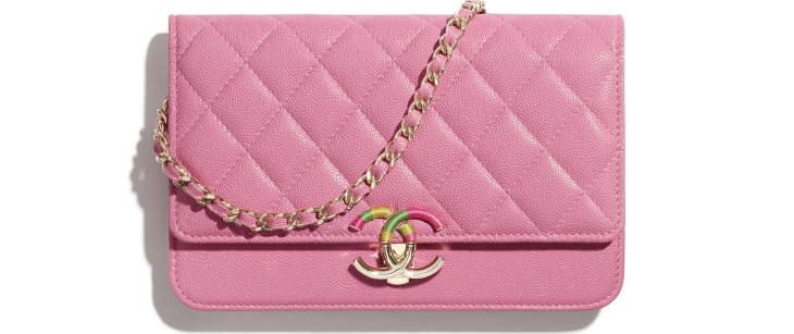 image 1 - Wallet on Chain - Grained Calfskin & Gold-Tone Metal - Pink