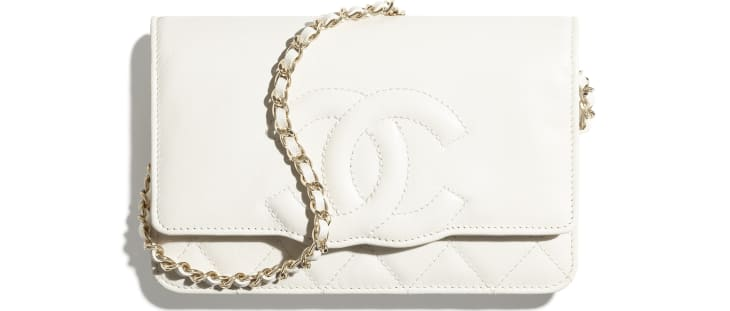 image 1 - Wallet on Chain - Goatskin & Gold-Tone Metal - White