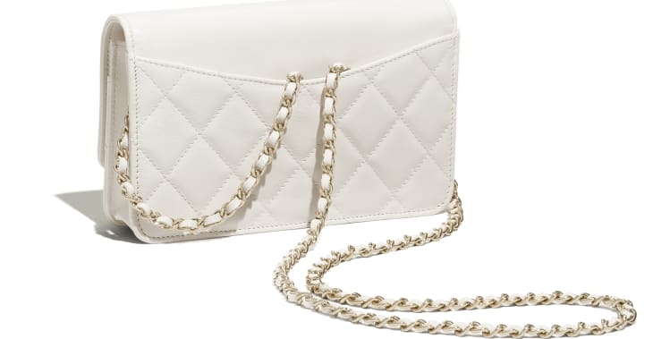 image 4 - Wallet on Chain - Goatskin & Gold-Tone Metal - White