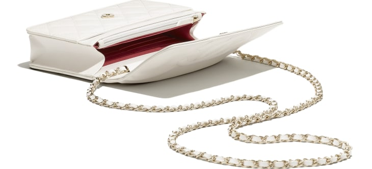 image 3 - Wallet on Chain - Goatskin & Gold-Tone Metal - White