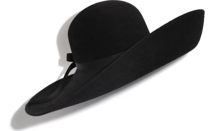 image 1 - Wide-Brimmed Hat - Felt & Silk - Black
