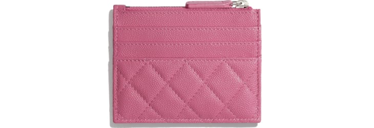 image 2 - Zipped Card Holder - Grained Calfskin, Fabric & Silver-Tone Metal - Pink, Blue & White