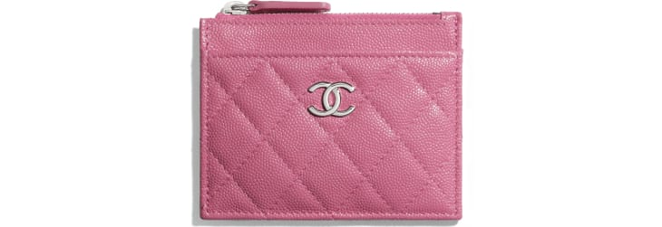 image 1 - Zipped Card Holder - Grained Calfskin, Fabric & Silver-Tone Metal - Pink, Blue & White