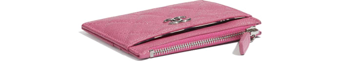 image 4 - Zipped Card Holder - Grained Calfskin, Fabric & Silver-Tone Metal - Pink, Blue & White