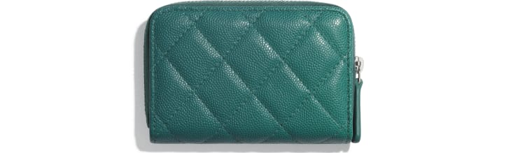 image 2 - Zipped Coin Purse - Grained Calfskin, Fabric & Silver-Tone Metal - Green & Pink