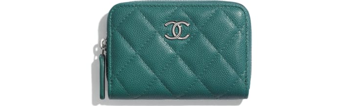 image 1 - Zipped Coin Purse - Grained Calfskin, Fabric & Silver-Tone Metal - Green & Pink