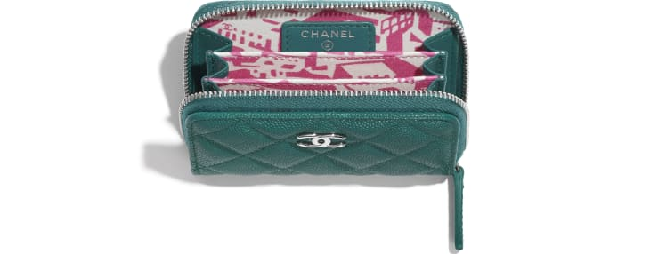image 3 - Zipped Coin Purse - Grained Calfskin, Fabric & Silver-Tone Metal - Green & Pink
