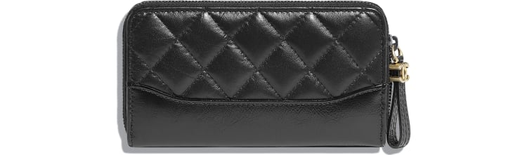 image 2 - Zipped Wallet - Aged Calfskin, Smooth Calfskin, Gold-Tone, Silver-Tone & Ruthenium-Finish Metal - Black