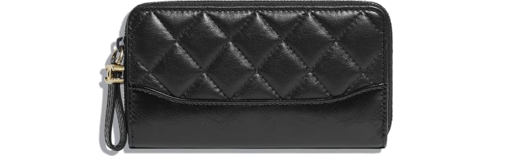 image 1 - Zipped Wallet - Aged Calfskin, Smooth Calfskin, Gold-Tone, Silver-Tone & Ruthenium-Finish Metal - Black