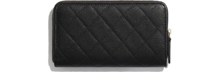image 2 - Zipped Wallet - Grained Calfskin & Gold-Tone Metal - Black