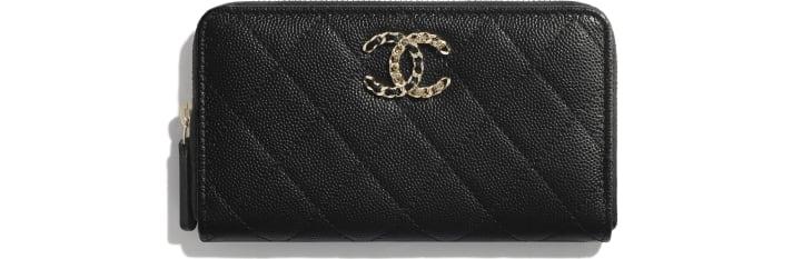 image 1 - Zipped Wallet - Grained Calfskin & Gold-Tone Metal - Black