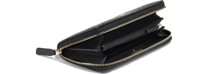 image 4 - Zipped Wallet - Grained Calfskin & Gold-Tone Metal - Black