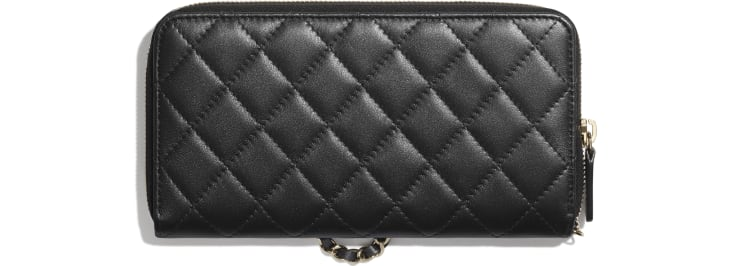 image 2 - Zipped Wallet with Handle - Iridescent Lambskin & Gold-Tone Metal - Black