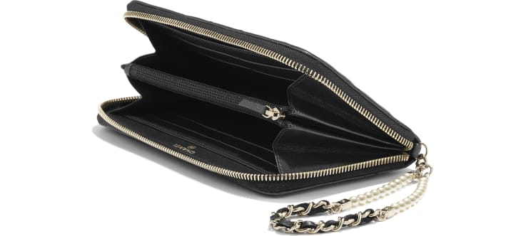 image 4 - Zipped Wallet with Handle - Iridescent Lambskin & Gold-Tone Metal - Black