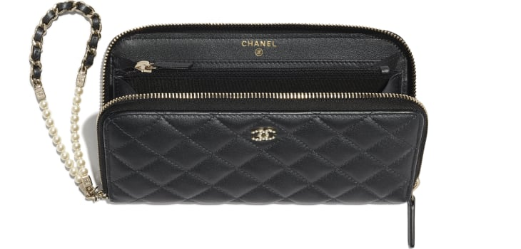 image 3 - Zipped Wallet with Handle - Iridescent Lambskin & Gold-Tone Metal - Black