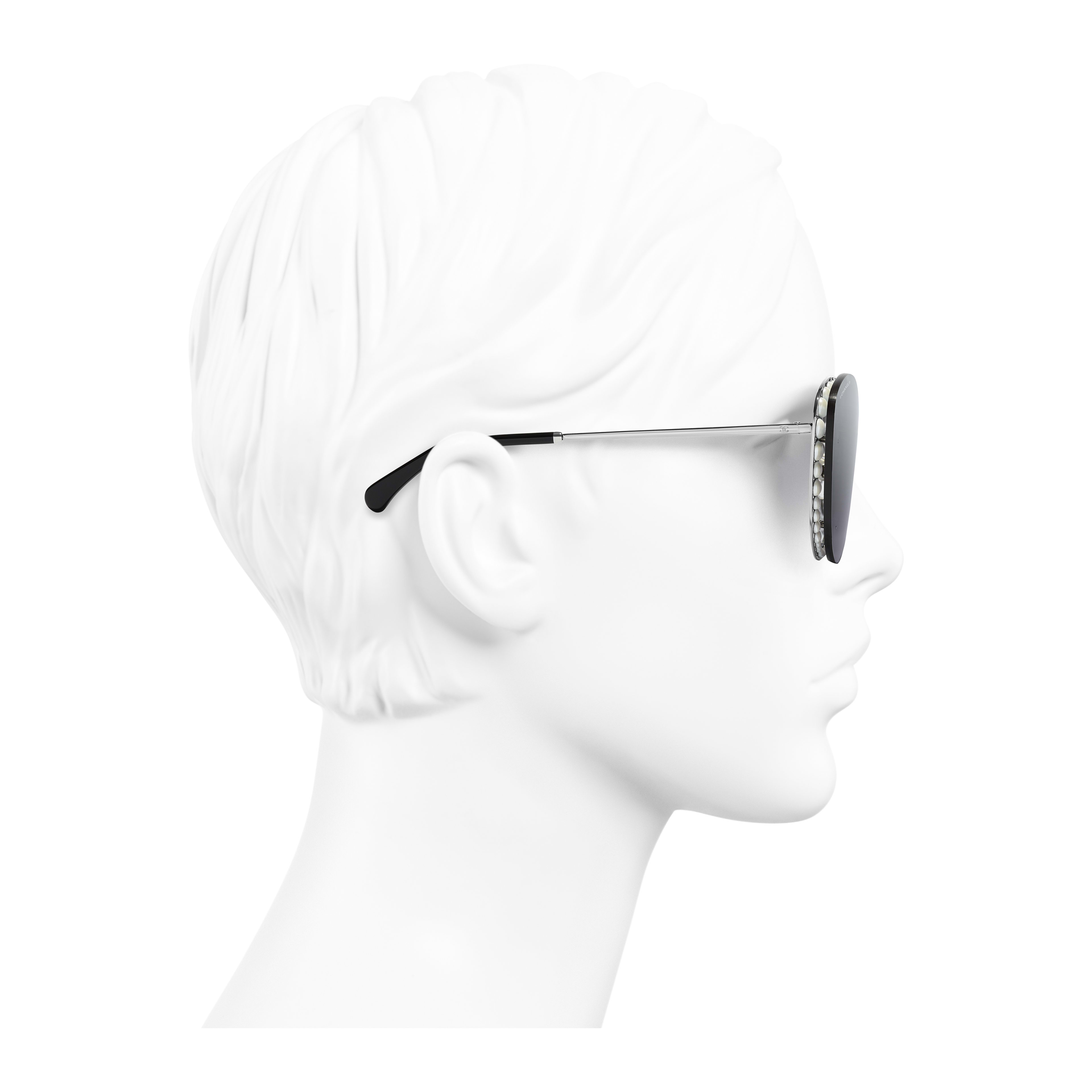 Butterfly Sunglasses - Silver - Metal & Imitation Pearls - Worn side view - see full sized version