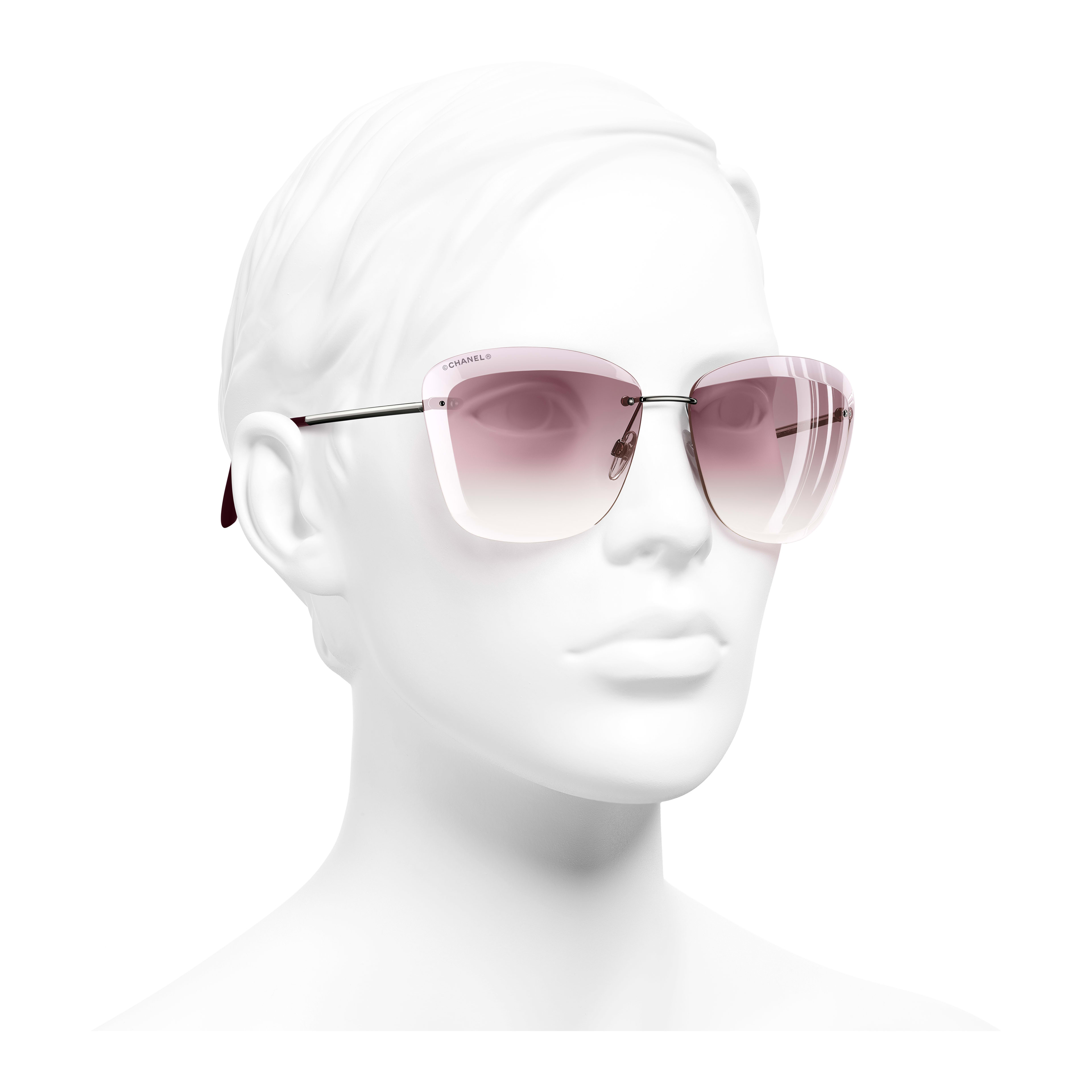 Butterfly Sunglasses Metal Silver & Pink - - see full sized version