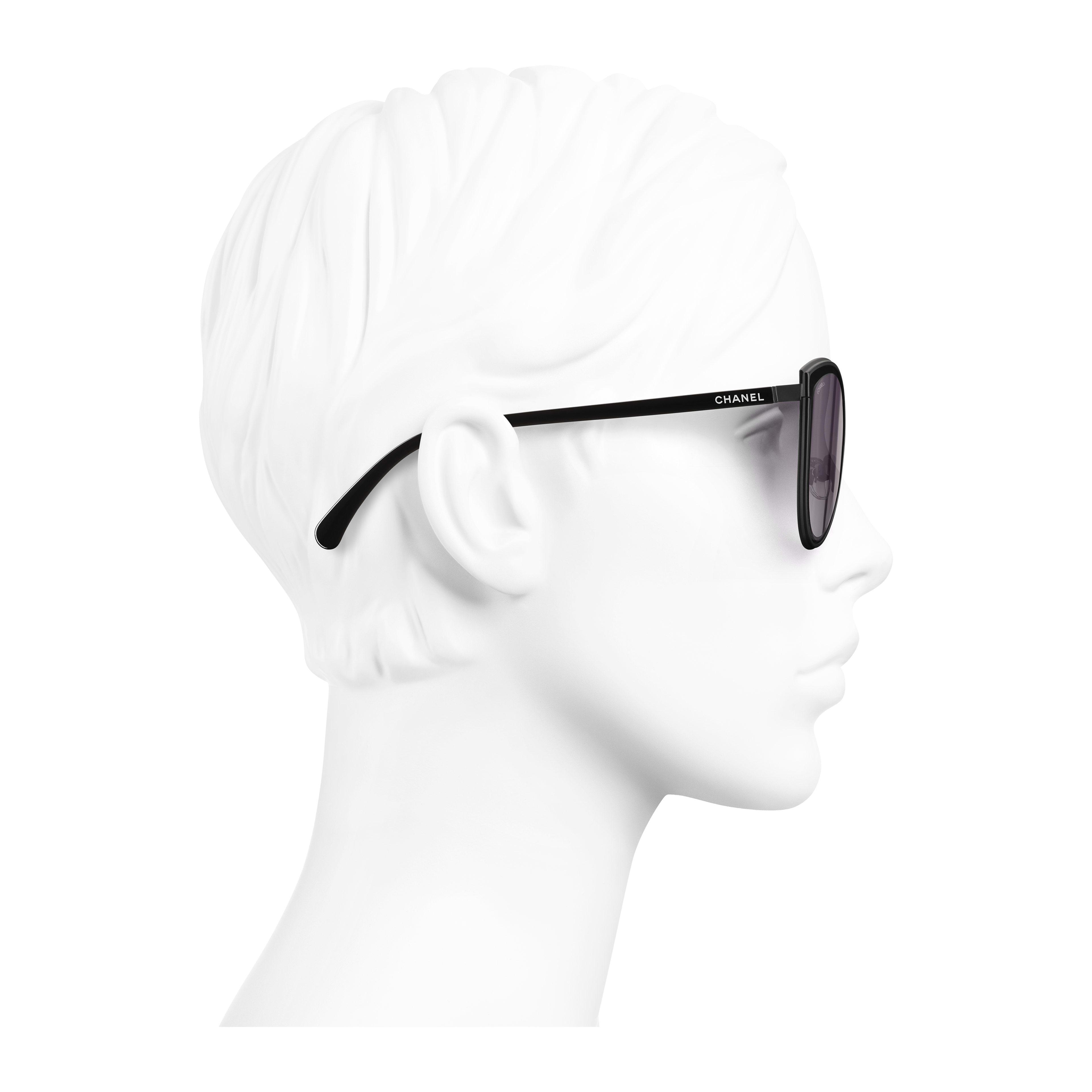 Cat Eye Sunglasses Metal Black - - see full sized version