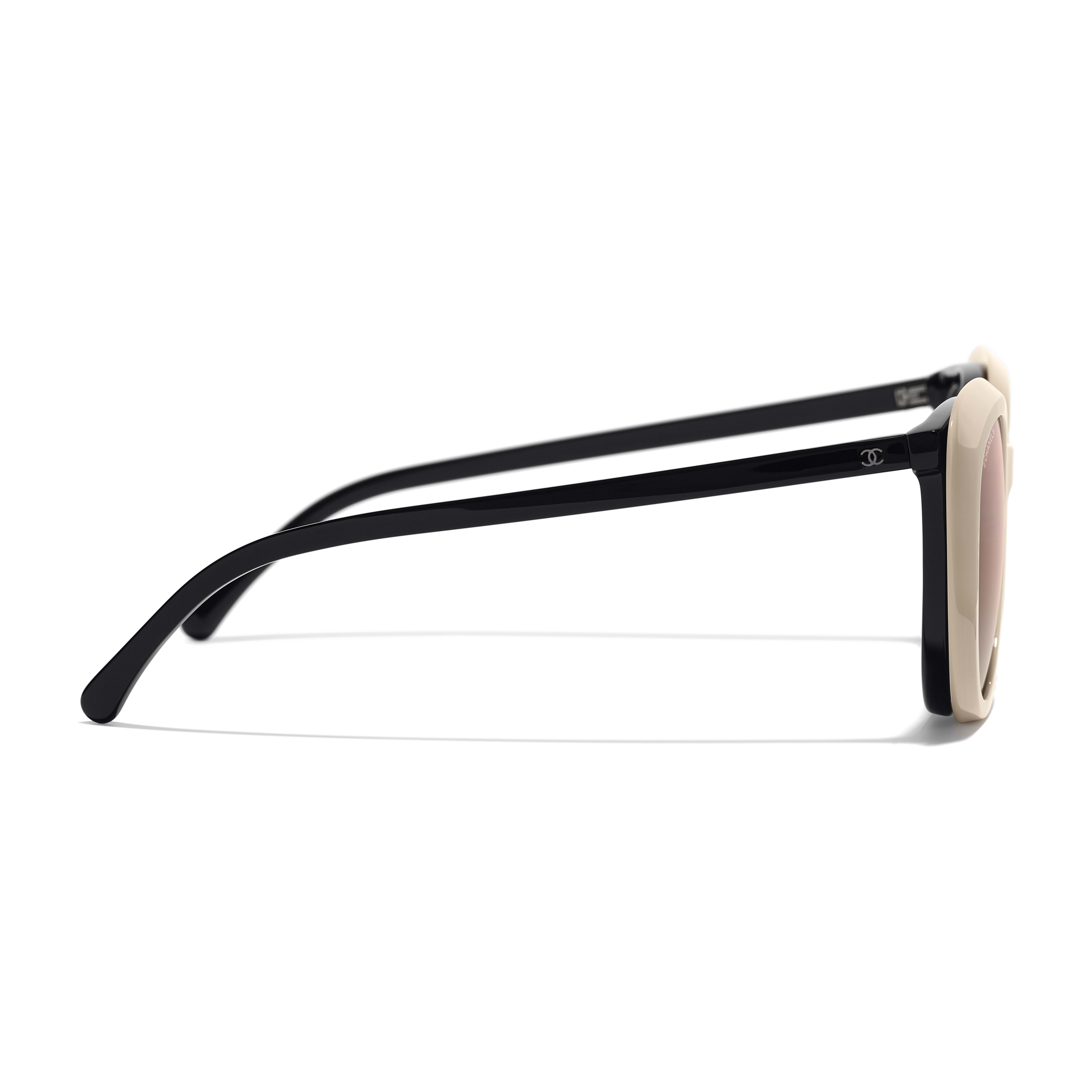 Clip on Sunglasses - Black - Acetate & Metal - Worn side view - see full sized version