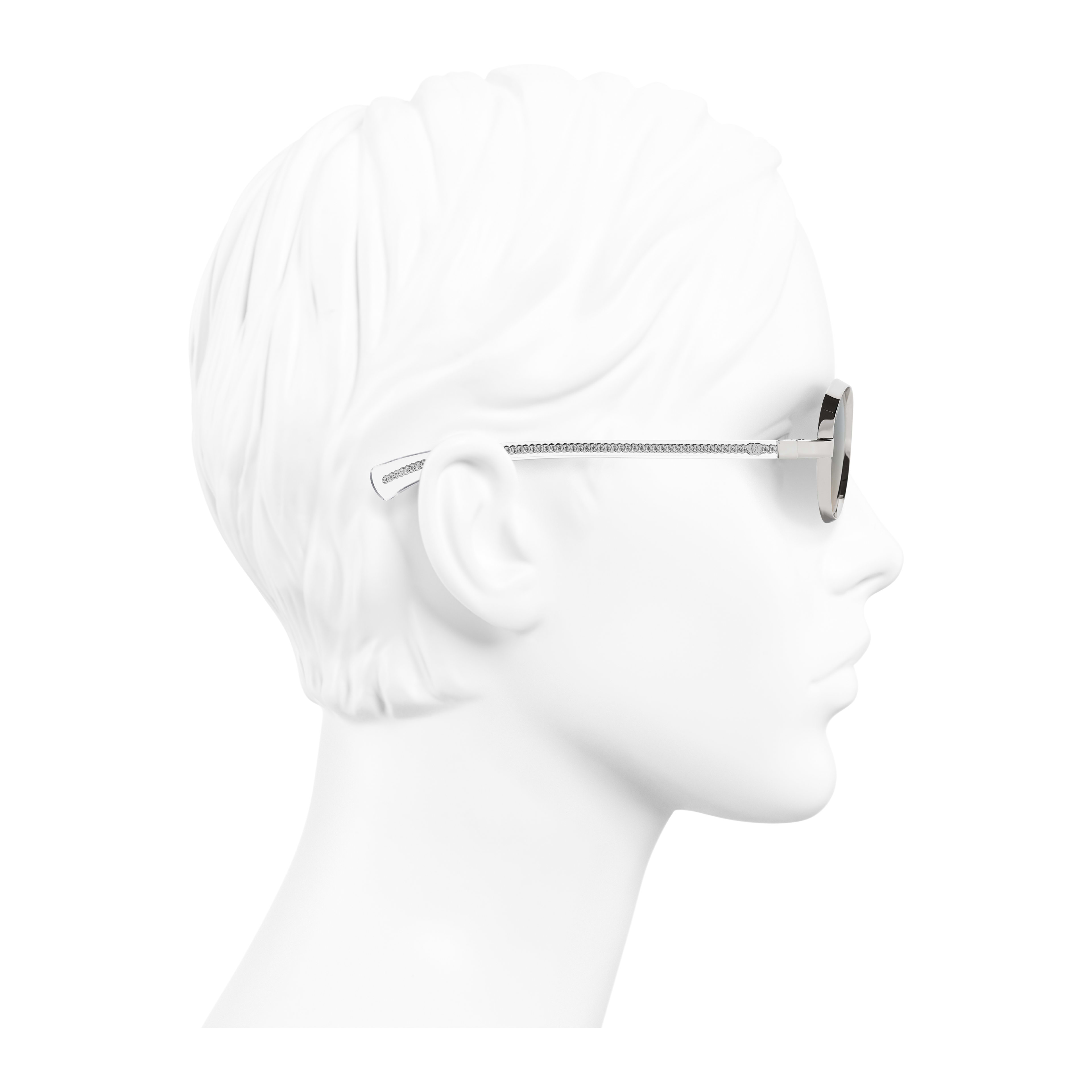 Oval Sunglasses Acetate & Metal Silver - - see full sized version