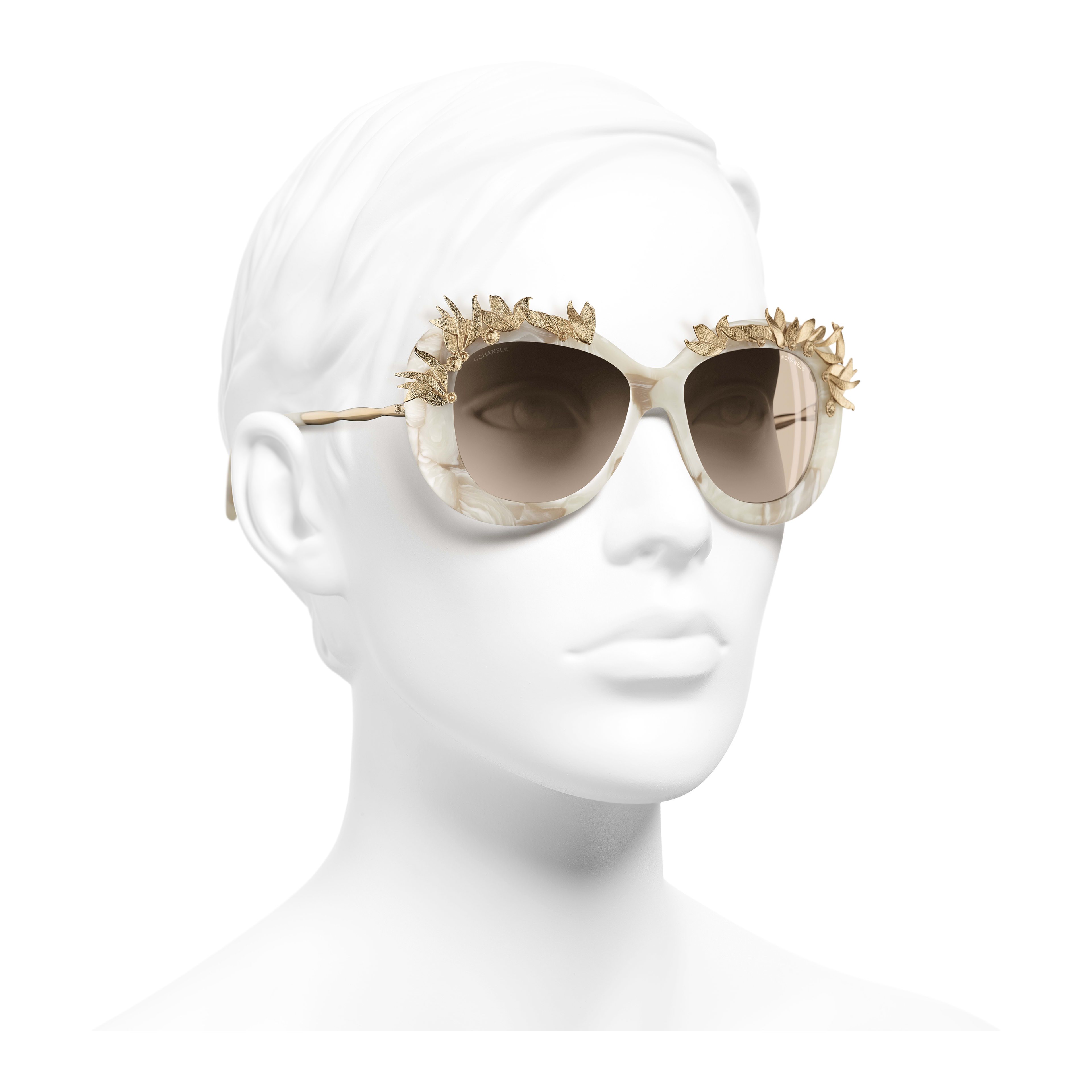 Oval Sunglasses Acetate & Metal White & Gold - - see full sized version