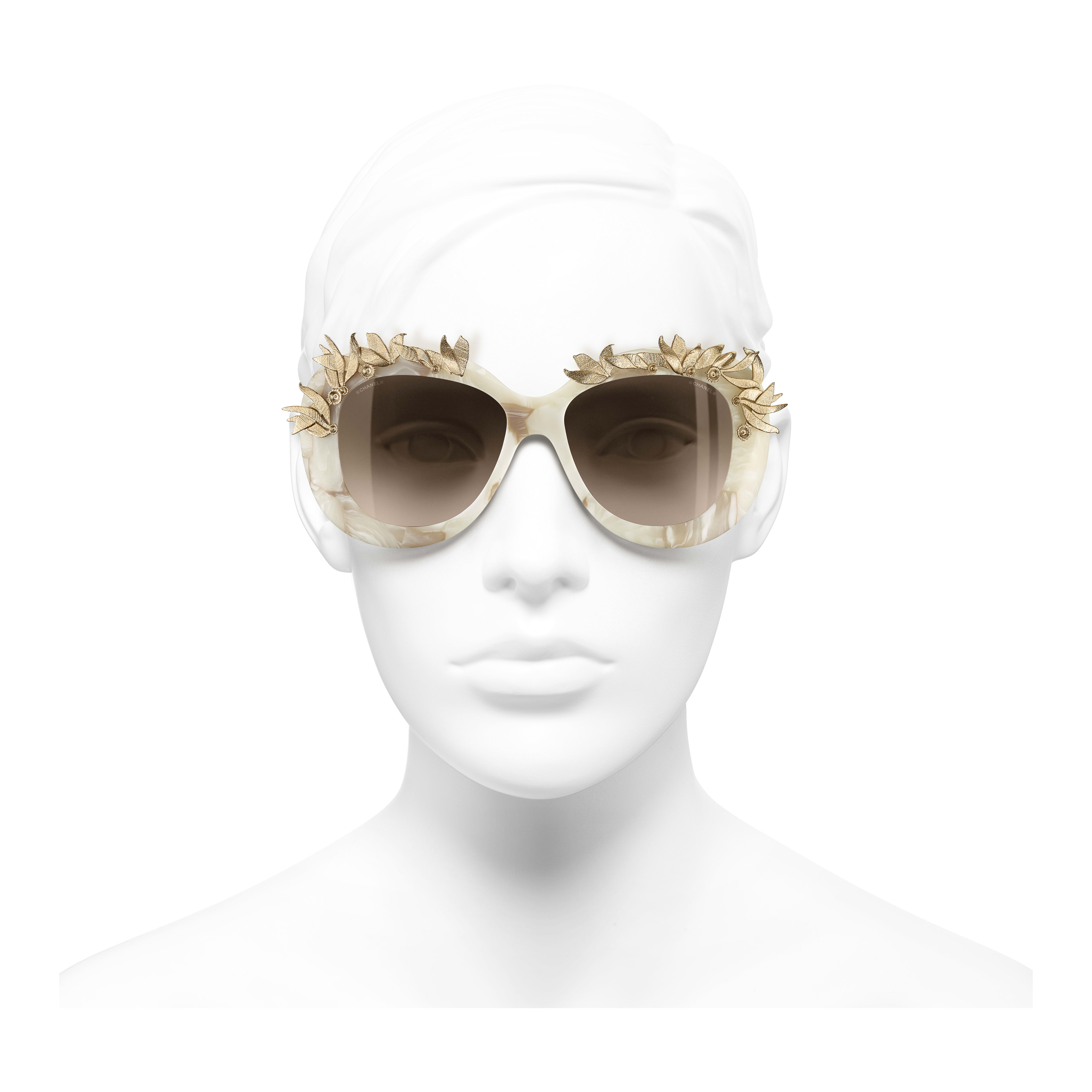 Oval Sunglasses Acetate & Metal White & Gold -                                                                     view 2 - see full sized version