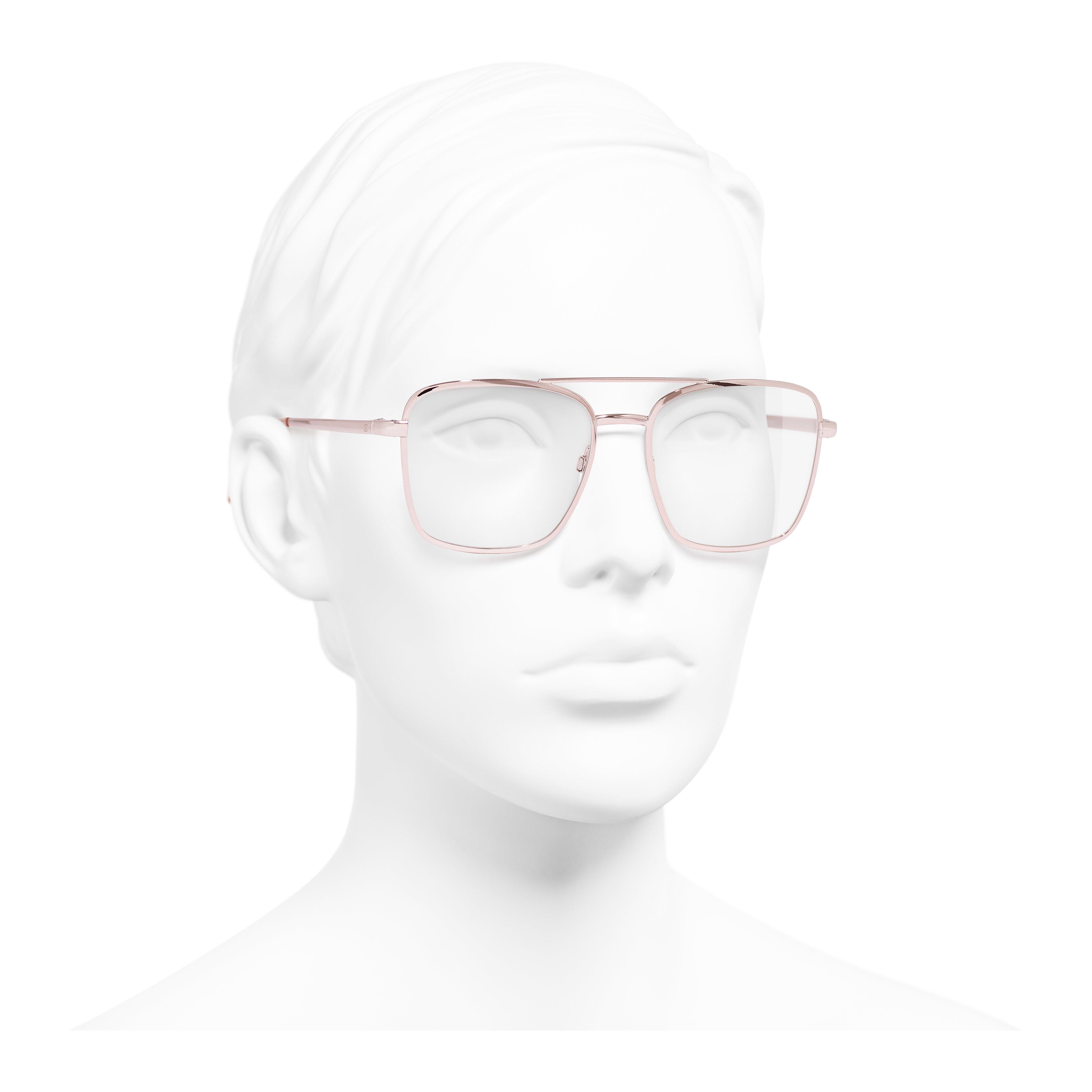 Pilot Eyeglasses - Pink Gold - Metal - Worn 3/4 view - see full sized version