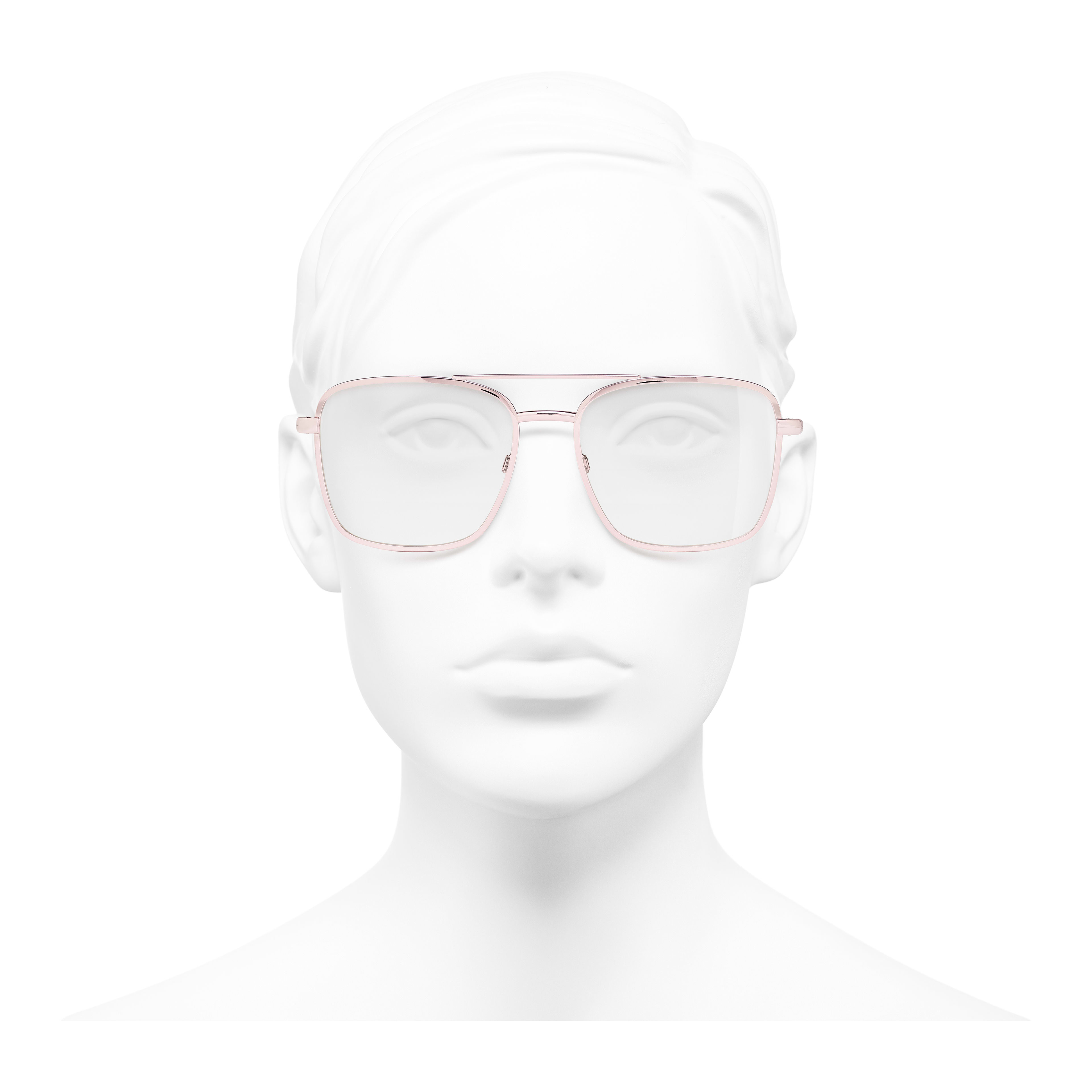 Pilot Eyeglasses - Pink Gold - Metal - Worn front view - see full sized version